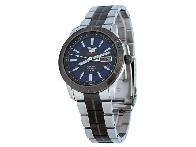 Seiko 5 Sports #SRP343 Men's Two Tone Black IP 100M Black IP Bezel 24 Jewels Black Dial Automatic Watch