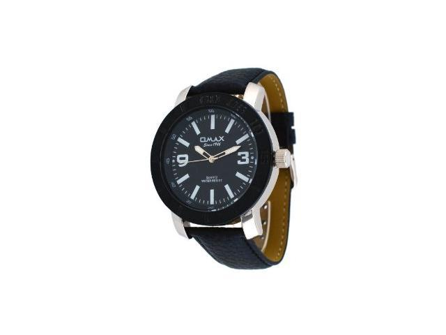 Omax #X009 Men's Big Size Black Bezel Black Dial Analog Strap Watch