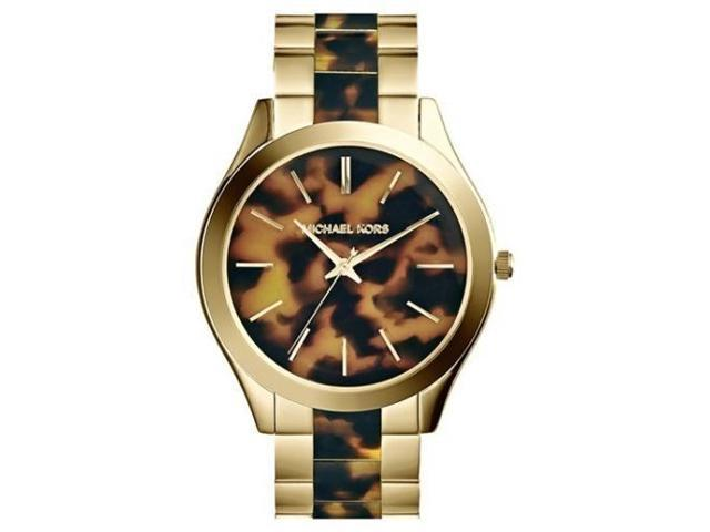Michael Kors MK4284 Runway Slim Golden Tortoise Stainless Steel 3-Hand Watch