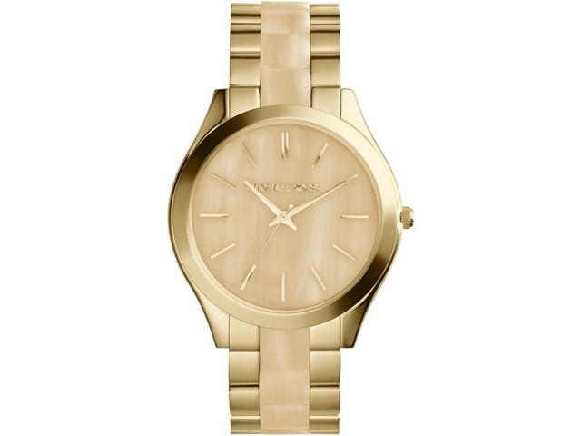 Michael Kors MK4285 Slim Runway Champagne Dial Gold-tone & Milky Horn Watch