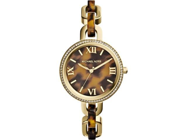 Michael Kors Delaney Tortoise-shell Dial Tortoise Acetate & Gold-tone Watch