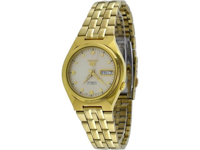 Seiko 5 SNKL74 Men's Gold Tone Stainless Steel Champagne Dial Automatic Watch