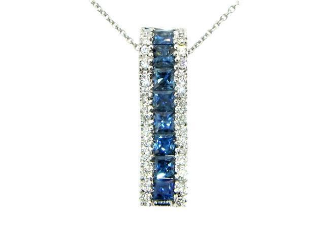 Effy Jewelers 14k White Gold Diamond & Sapphire Pendant (1.20 TCW)
