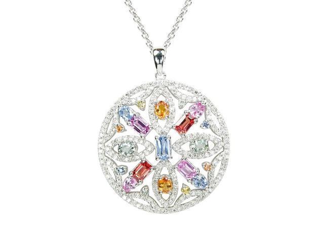 Effy Jewelers Water Colors 14K White Gold Diamond & Multi Sapphire Pendant (4.94 TCW)