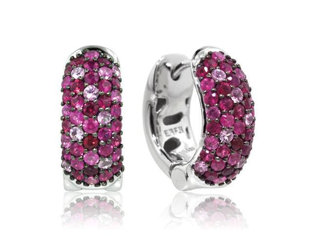 Effy Jewelers Balissima Ruby & Sapphire Huggie Earrings in Sterling Silver, 2.75 TCW.