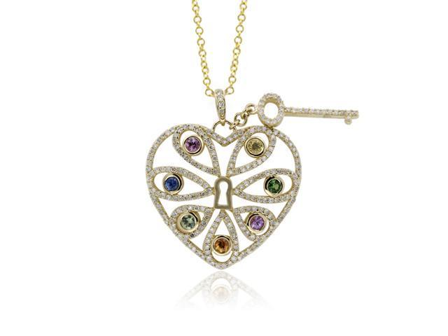 Effy Jewelers Effy 14K Yellow Gold diamond and Multi Color Heart and Key Pendant, 1.57 Tcw.