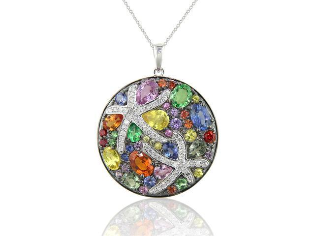 Effy Jewelers Water Colors Multi Sapphire & Diamond Pendant in 14K White Gold, 5.70 Tcw.