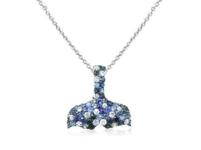 Effy Jewelers Balissima Whale's Tail Sapphire Splash Pendant Set In Sterling Silver, 1.87 Tcw.