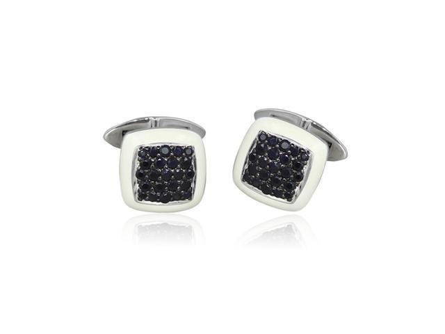 Effy Jewelers Gento Sterling Silver Men's Black Sapphire and White Enamel Cuff Links, 2.34 Tcw.