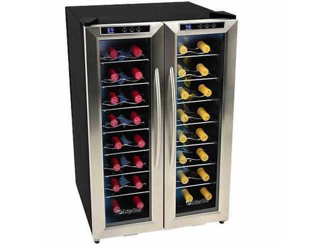 edgestar 32 bottle dual zone wine cooler w french doors