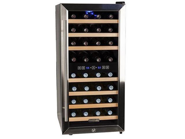 Koldfront TWR327ESS Stainless Steel 32-Bottle Free Standing Dual Zone Wine Cooler - Black