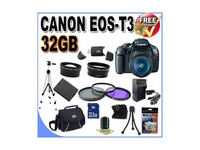 Canon EOS Rebel T3 12.2 MP CMOS Digital SLR with 18-55mm IS II Lens (Black)+58mm 2x Telephoto lens + 58mm Wide Angle Lens (3 Lens Kit!) W/32GB SDHC Memory +Case+Full Size Tripod+Accessory Kit