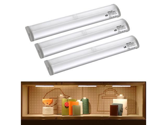 le 10 super bright leds under cabinet lighting motion sensor light warm white battery powered. Black Bedroom Furniture Sets. Home Design Ideas