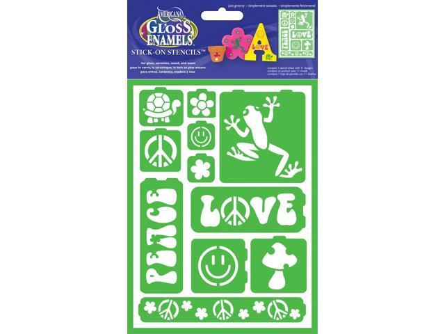 Gloss Enamels Stencil Sheet 1/Pkg-Just Groovy