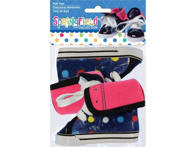 Springfield Collection High Tops-Blue W/Polka Dots