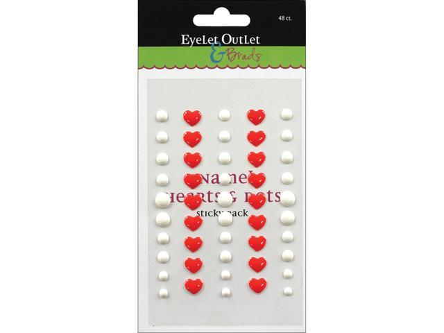 Eyelet Outlet Adhesive-Back Enamel Hearts 48/Pkg-Red/White