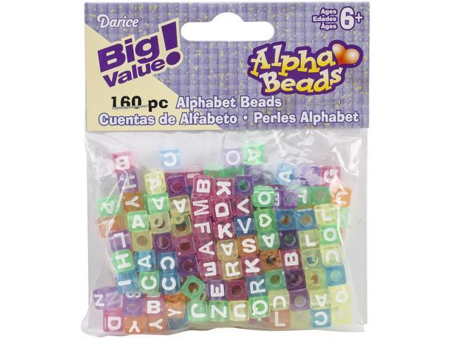 Alphabet Beads 7Mm 160/Pkg-Transparent Multicolored