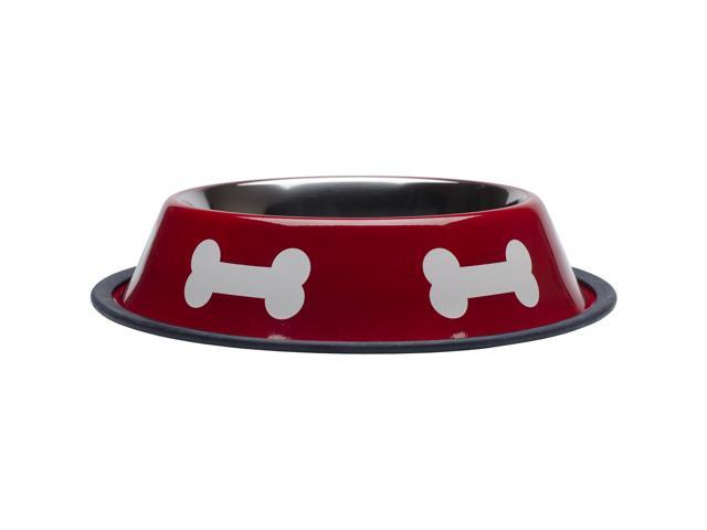 Fashion Steel Bowl Red W/White Bones 32Oz-