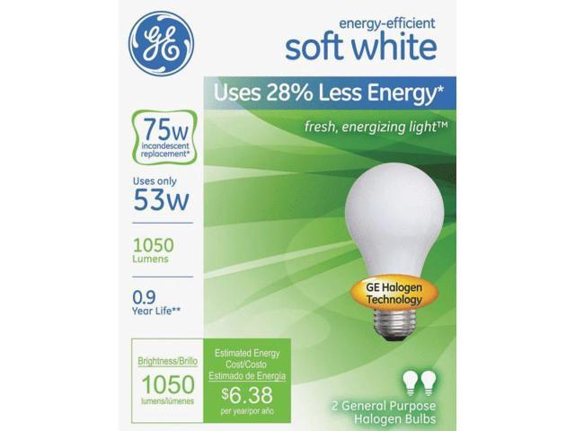 GE Lighting 63004 2-Pack Soft White Halogen Light Bulb-53W SW HALOGEN BULB