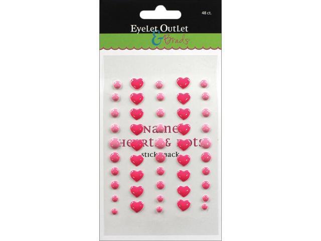 Eyelet Outlet Adhesive-Back Enamel Hearts 48/Pkg-Pink
