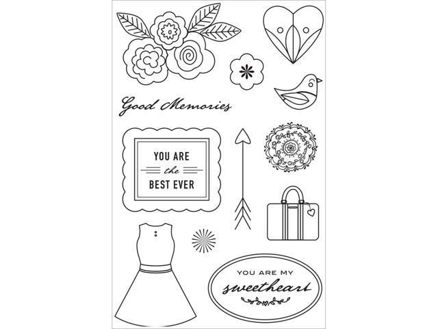 Basic Grey J'adore Clear Stamps By Hero Arts-Good Memories