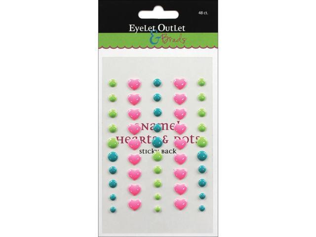 Eyelet Outlet Adhesive-Back Enamel Hearts 48/Pkg-Pink/Blue/Green