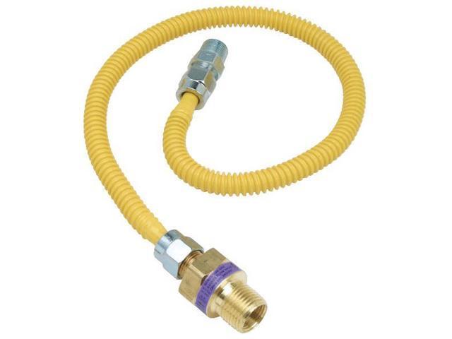 "3/8"" O.D. Gas Connector - 1/2"" M.I.P. Safety+PLUS x 3/8"" M.I.P.-1/2X3/8-24 GAS C"