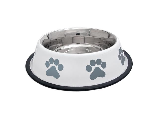 Fashion Steel Bowl White W/Grey Paws 32Oz-