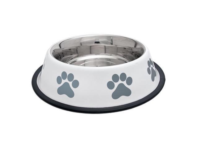 Fashion Steel Bowl White W/Grey Paws 32Oz-