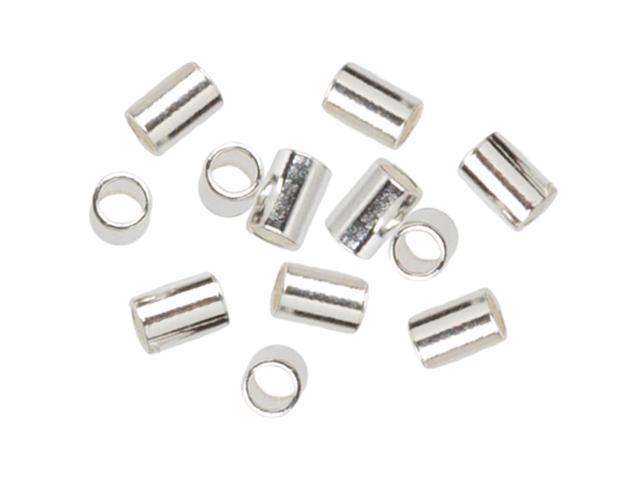 Plated Silver Elegance Metal Findings-Crimp Beads 2mmX3mm 45/Pkg