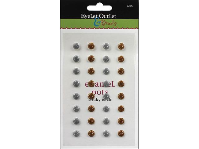 Eyelet Outlet Adhesive-Back Enamel Dots 32/Pkg-Gold/Silver