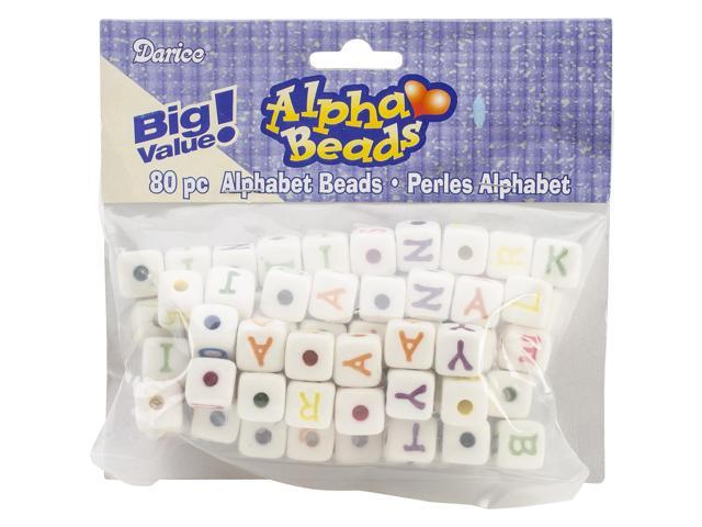 Alphabet Beads 12mm 80/Pkg-White W/Multicolor Letters