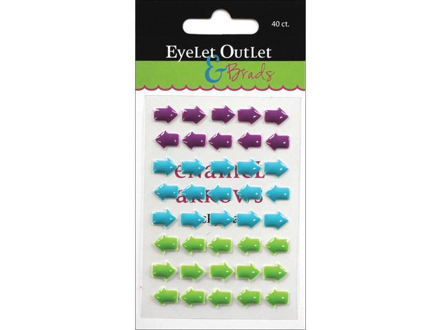 Eyelet Outlet Adhesive-Back Enamel Arrows 40/Pkg-Purple/Blue/Green