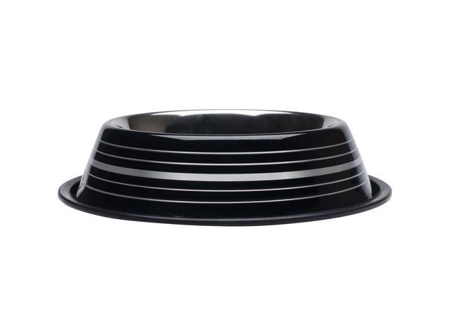 Fashion Steel Bowl Black W/Stripes 32Oz-