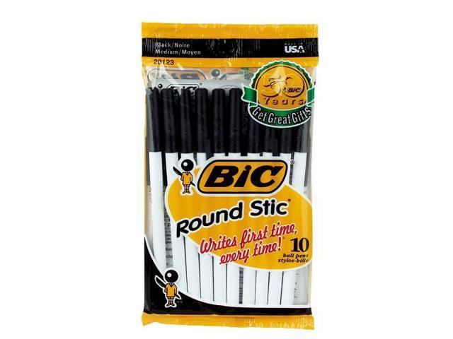 Bic Corporation GSMP101BLK BIC Medium Stic Pen-10PK BLK ROUND STIC PEN