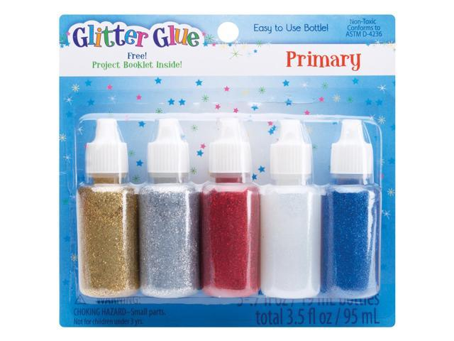 Glitter Glue .7oz 5/Pkg-Primary