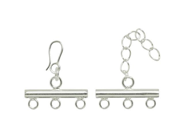 Plated Silver Elegance Metal Findings-3-Strand Rod Clasp 1/Pkg