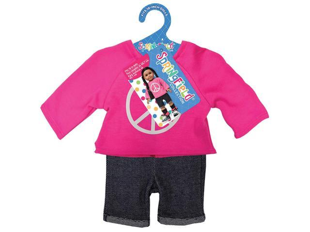 Springfield Collection Peace Sign Sweatshirt & Shorts-Pink & Blue