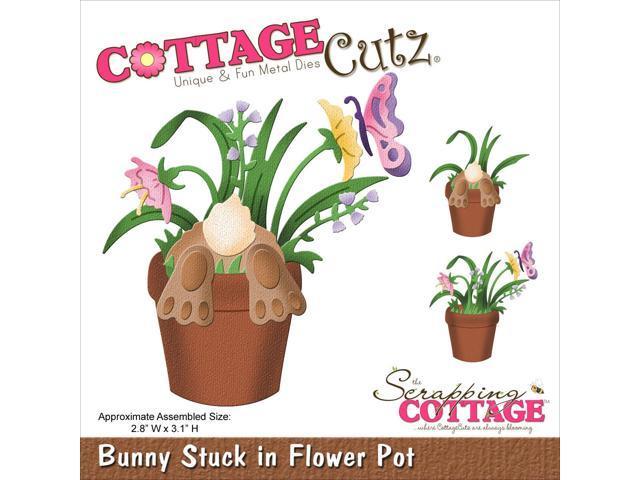 Cottagecutz Die-Bunny Stuck In Flower Pot 2.8