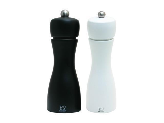 "Peugeot Tahiti Black Matte Pepper & White Matte Salt Mill Set 15cm/6"""