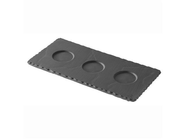 "Revol Basalt Rectangular Tray with 3 Indents - 9.75"" x 4.75"" x 0.25"" - Slate"