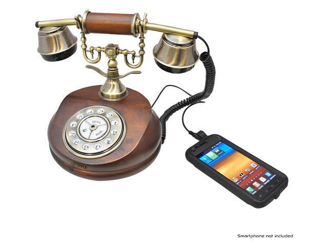 Pyle PRT15I Retro Home Telephone for iPhone/iPod/Android/Blackberry and all 3.5mm Cell Phones - Retail Packaging - Wood