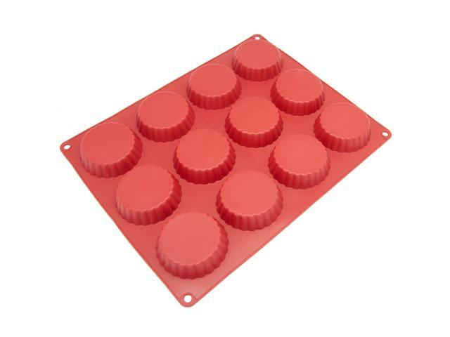 Freshware CB-111RD 12-Cavity Silicone Mold for Homemade Tart, Quiche, Pastry, Cake, Pie, Pudding, Jello, and More