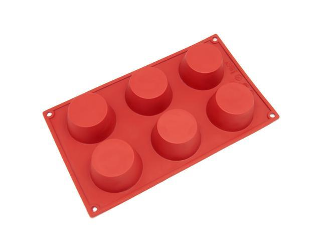 Freshware SL-106RD 6-Cavity Silicone Mold for Soap, Cake, Bread, Cupcake, Cheesecake, Cornbread, Muffin, Brownie, and More