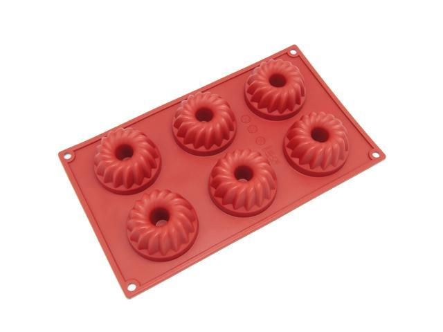 Freshware SL-109RD 6-Cavity Silicone Small Bundt, Coffee Cake, Muffin, Cupcake, Brownie and Cornbread Mold