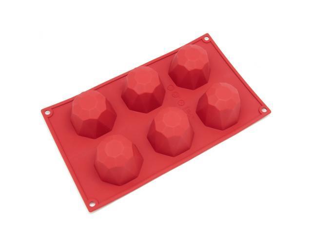 Freshware SL-111RD 6-Cavity Diamond Shape Silicone Mold for Soap, Cake, Bread, Cupcake, Cheesecake, Cornbread, Muffin, Brownie, ...
