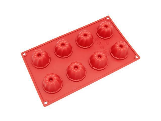 Freshware SM-109RD 8-Cavity Silicone Mini Bundt, Coffe Cake, Muffin, Cupcake, Brownie and Cornbread Mold