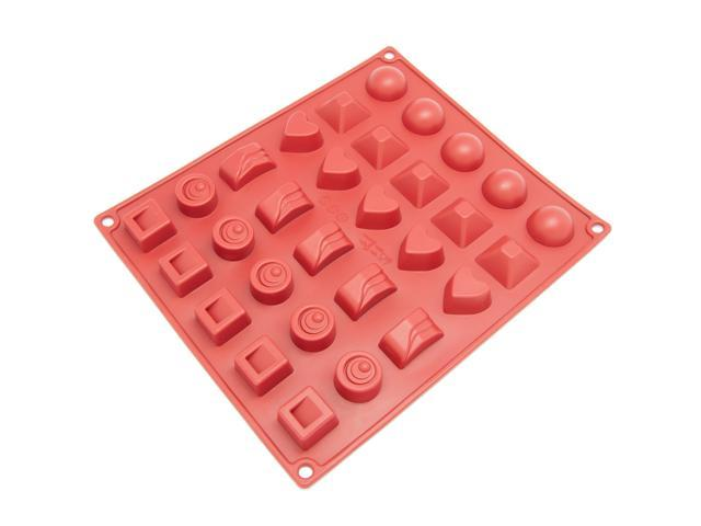 Freshware CB-114RD 30-Cavity Silicone Mold for Making Homemade Chocolate, Candy, Gummy, Jelly, and More
