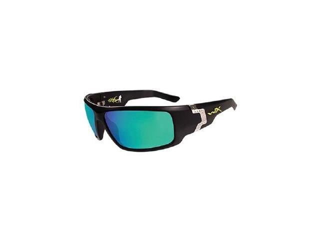 Wileyx P-17 Polarized Emerald Mirror/Gloss Black Glasses