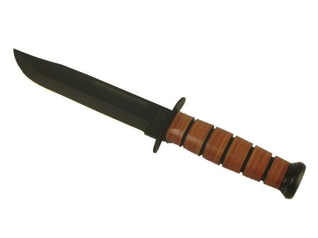 Ka-bar Knives US Army Fighting Knife, Brown Leather Sheath, 7 in., Plain